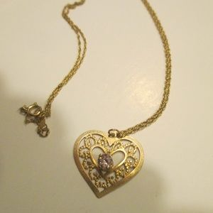 14k  gold heart necklace pink stone pendant charm